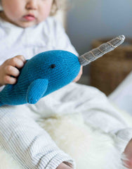 Fair Trade, Artisan Made, Hand-knit Blue Narwhal Stuffed Animal