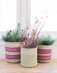 Fair Trade Hand-woven Natural & Pink Iringa Basket