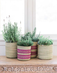 Fair Trade Hand-woven Tan & Pink Stripe Iringa Basket
