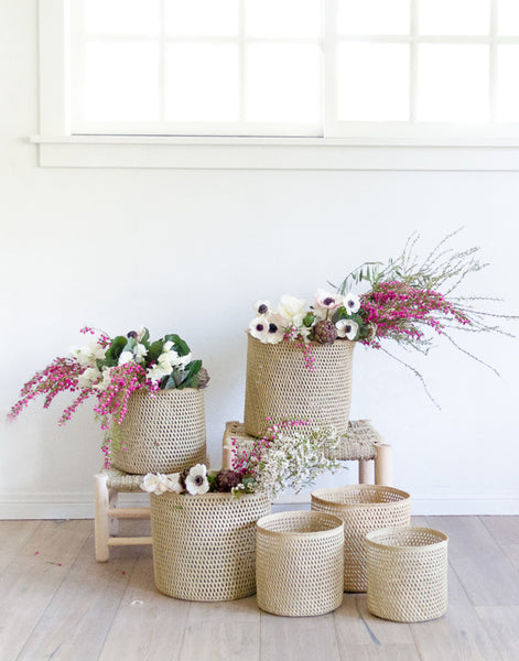 Fair Trade Hand-woven Basket & Planter, Tan & Natural
