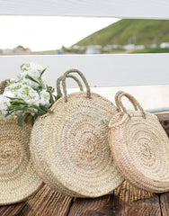 Three Natural Palm Round Bags | The Little Market