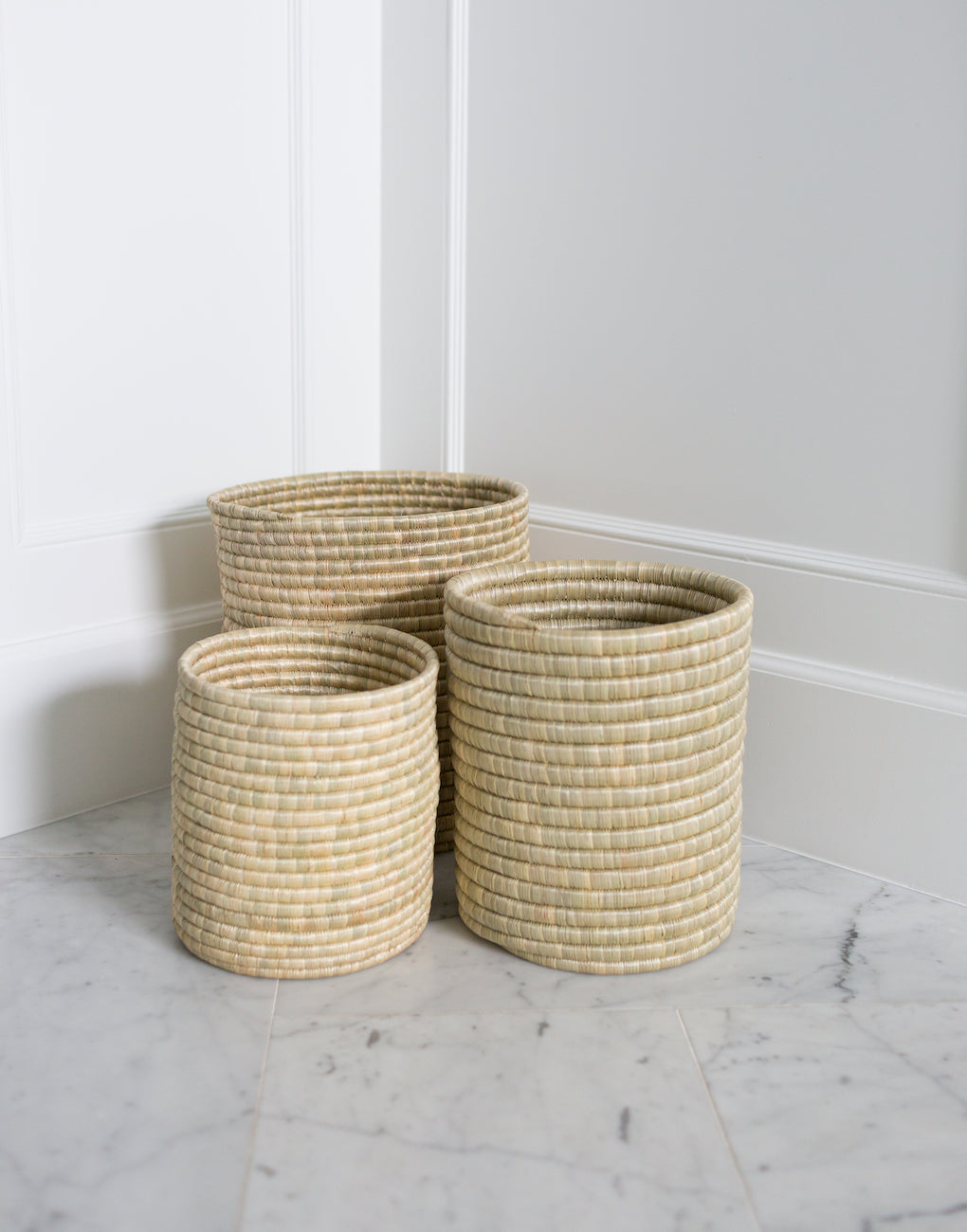 Small, Medium, And Large Natural Woven Bath Bins | The Little Market