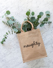 Medium Naughty Reusable Gift Tote In Black Font | The Little Market