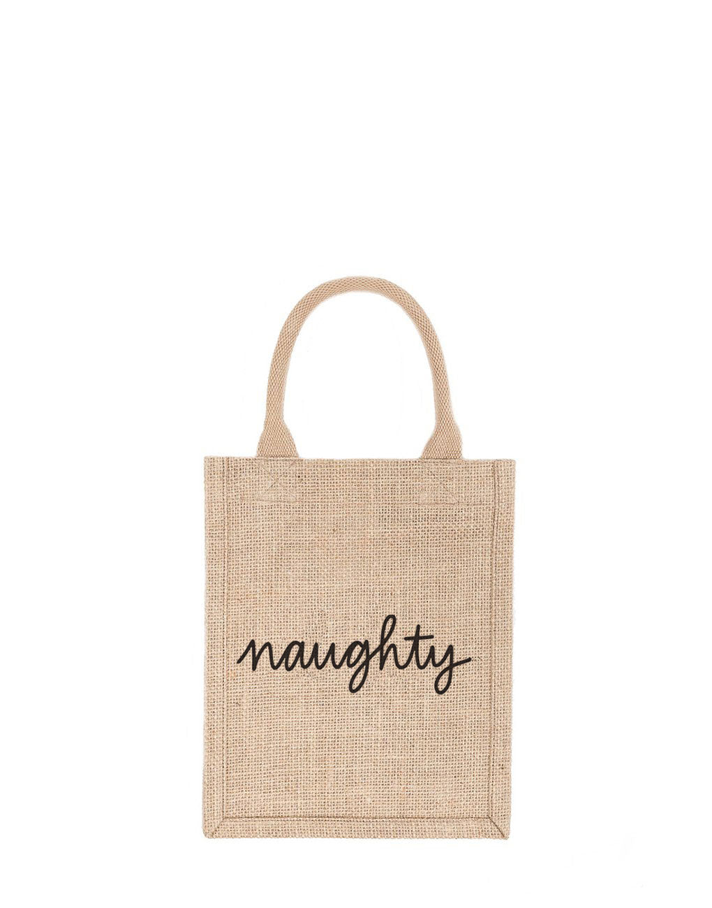 Small Naughty Reusable Gift Tote In Black Font | The Little Market