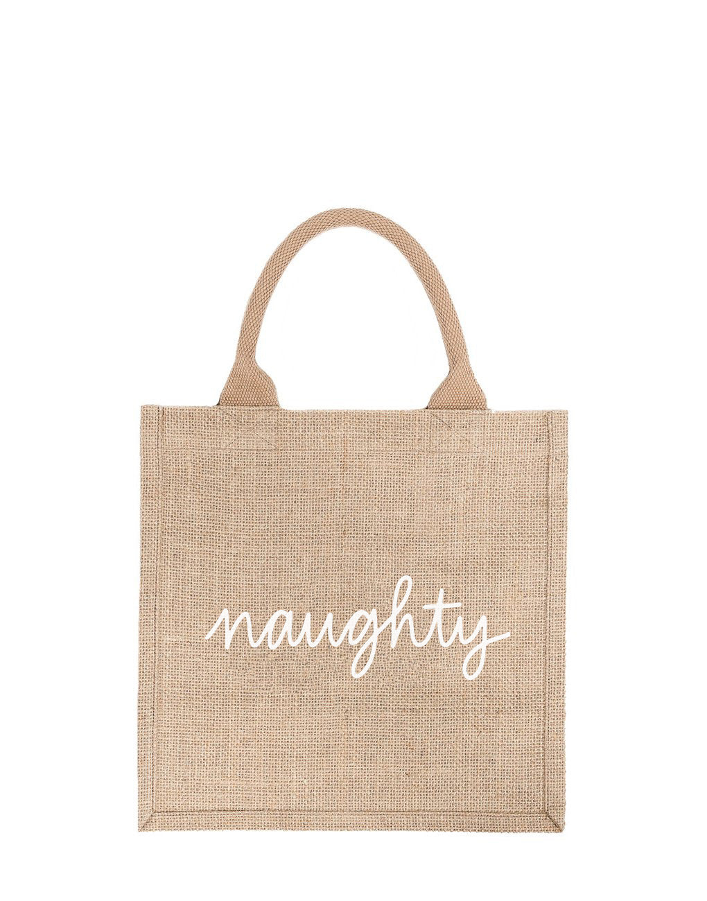 Large Naughty Reusable Gift Tote In White Font | The Little Market