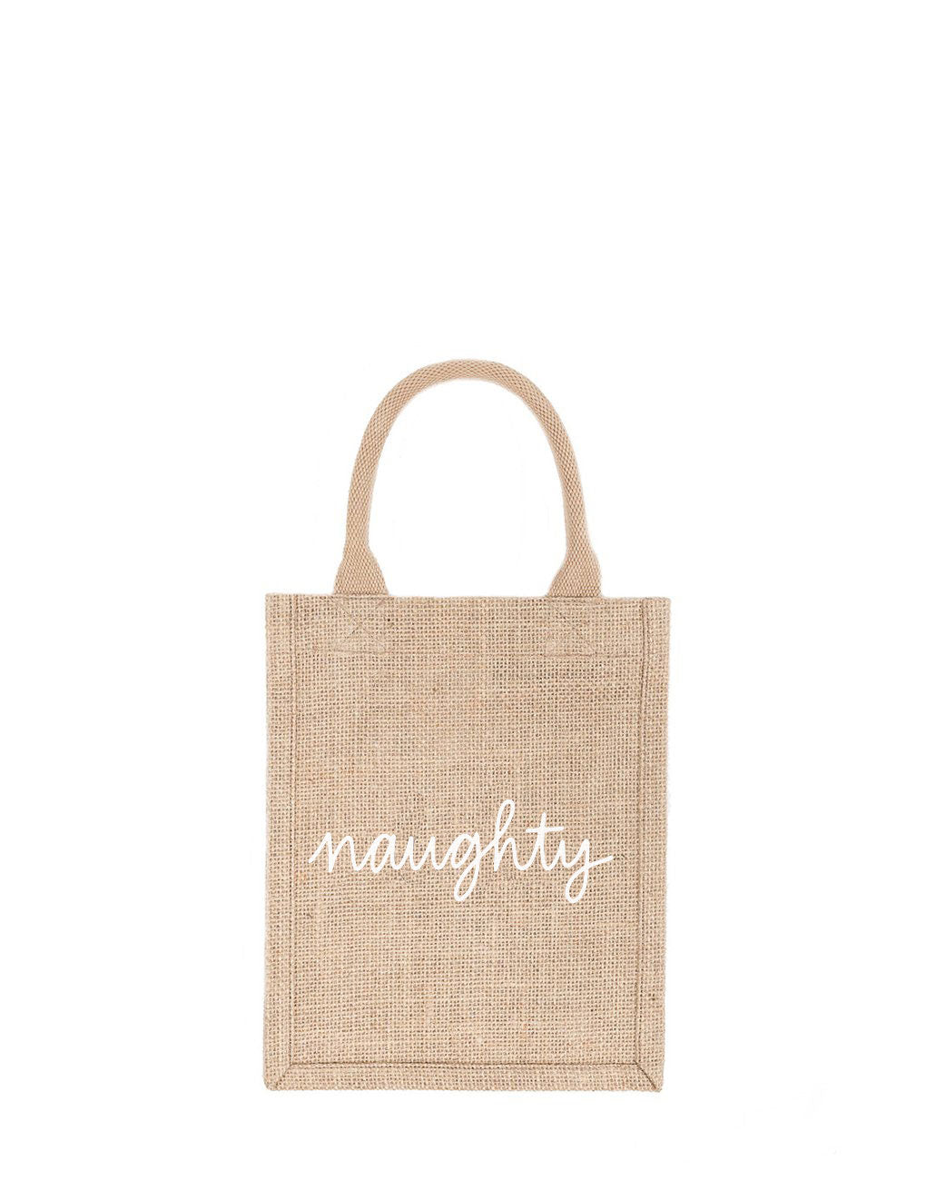 Small Naughty Reusable Gift Tote In White Font | The Little Market