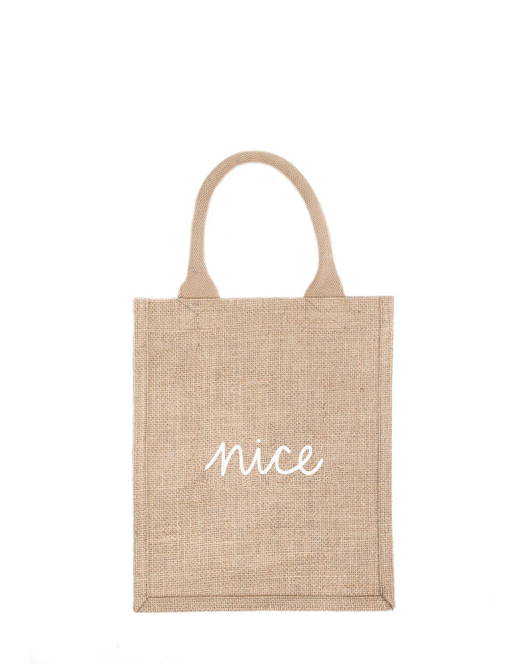 Medium Nice Reusable Gift Tote In White Font | The Little Market