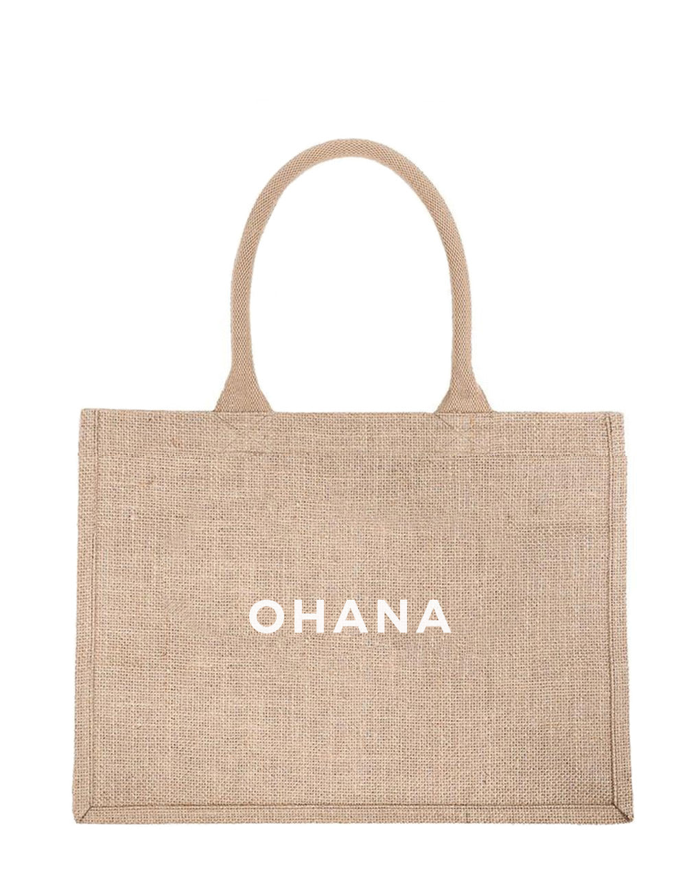 Small Ohana Reusable Shopping Tote In White Font | The Little Market