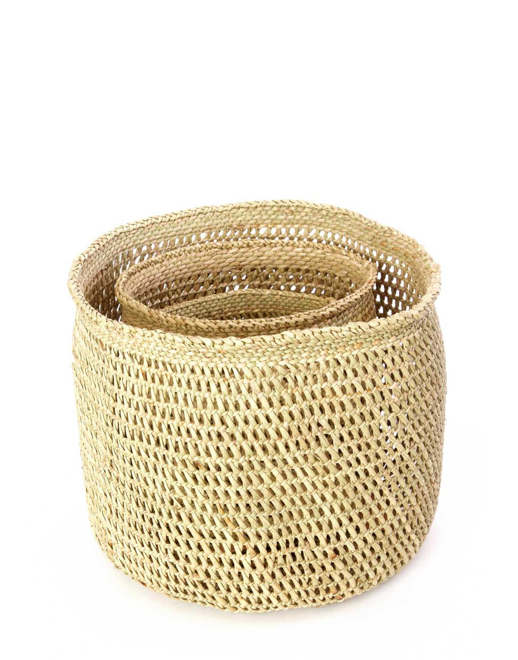 Fair Trade, Handwoven, Tan Iringa Basket