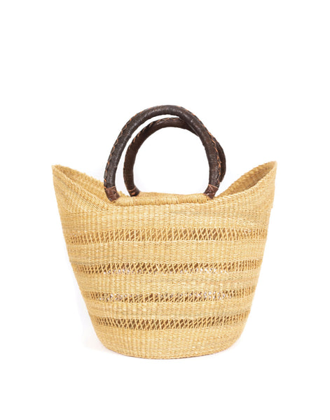 Open Weave Bohemian Market Basket - Brown Handle