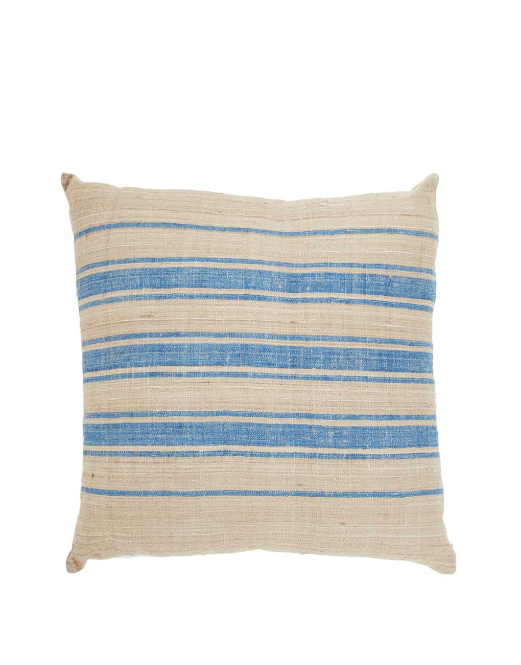 Fair Trade Handwoven Silk Tan & Blue Pillow