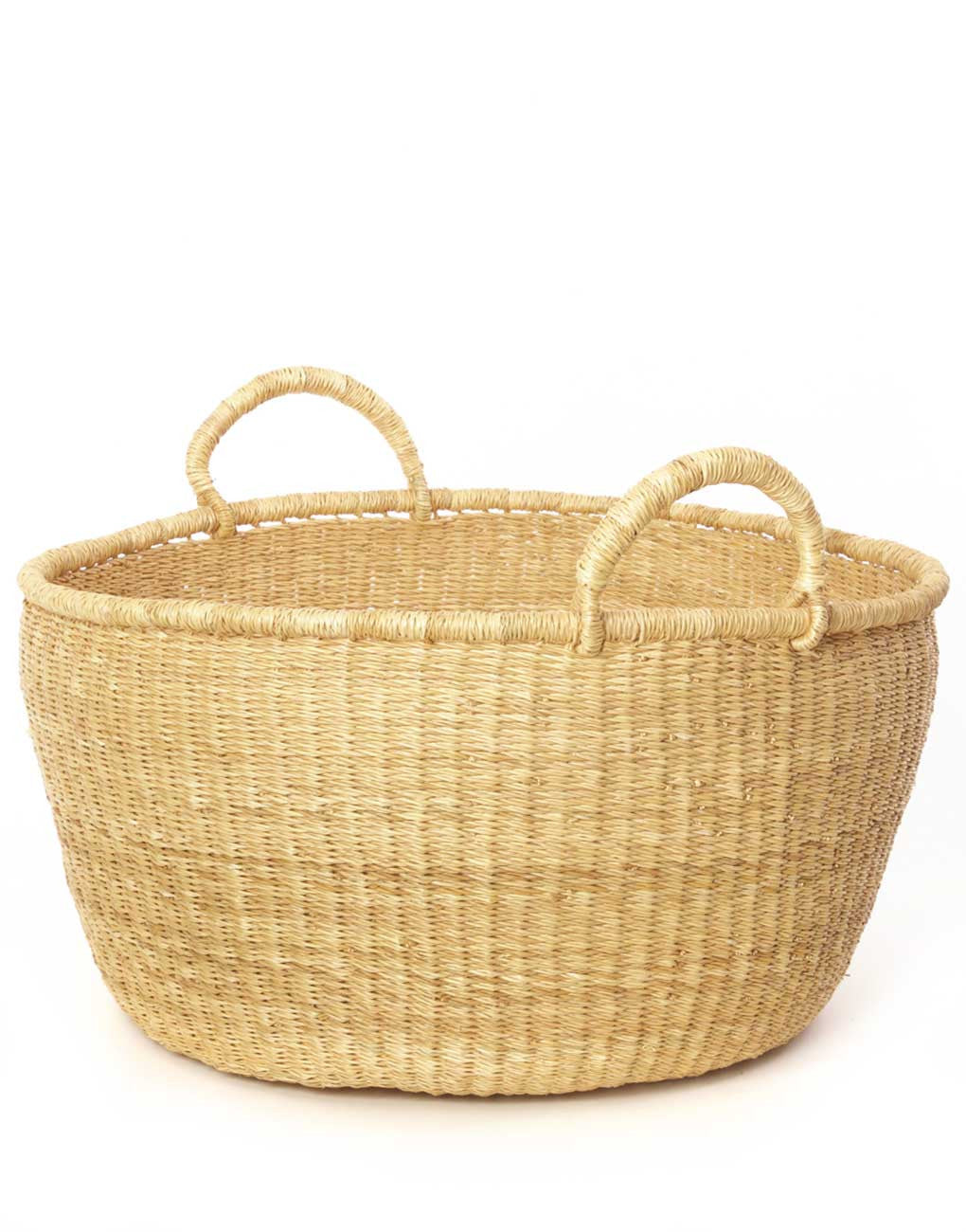 Fair Trade, Handwoven, Oversized Tan Market Basket
