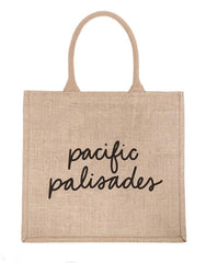 Large Pacific Palisades Reusable Shopping Tote In Black Font | The Little Market