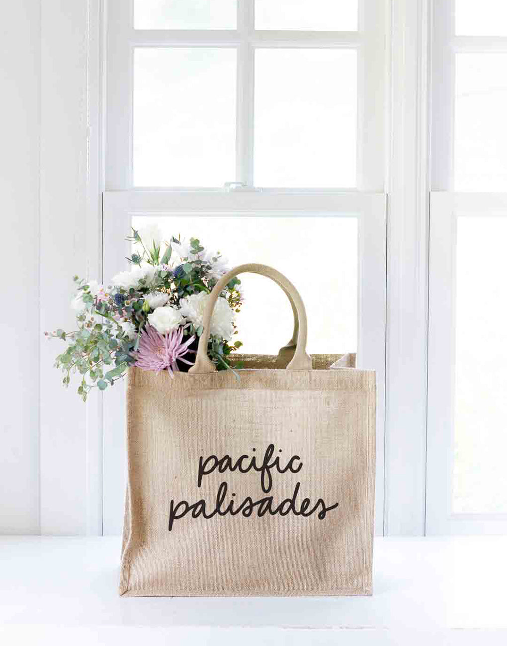 Large Pacific Palisades Purposefull Shopping Tote In Black Font With Flowers | The Little Market