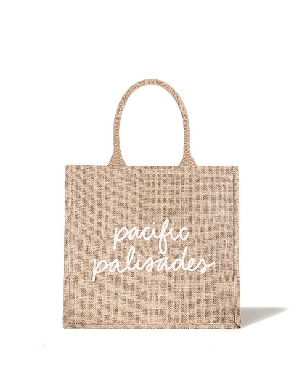 Large Pacific Palisades Reusable Shopping Tote In White Font | The Little Market