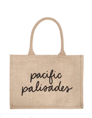 Small Pacific Palisades Reusable Shopping Tote In Black Font | The Little Market