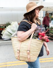 Model Wearing Palm And Leather Shopper | The Little Market