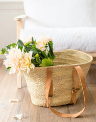 Palm And Leather Shopper With Flowers | The Little Market
