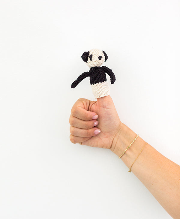 Panda, Jungle Animals, Knitted Finger Puppet