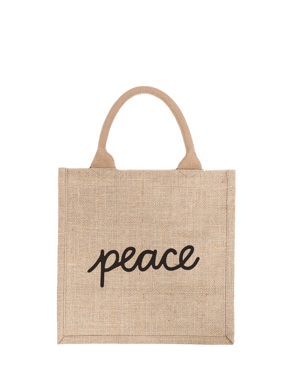 Large Peace Reusable Gift Tote In Black Font | The Little Market