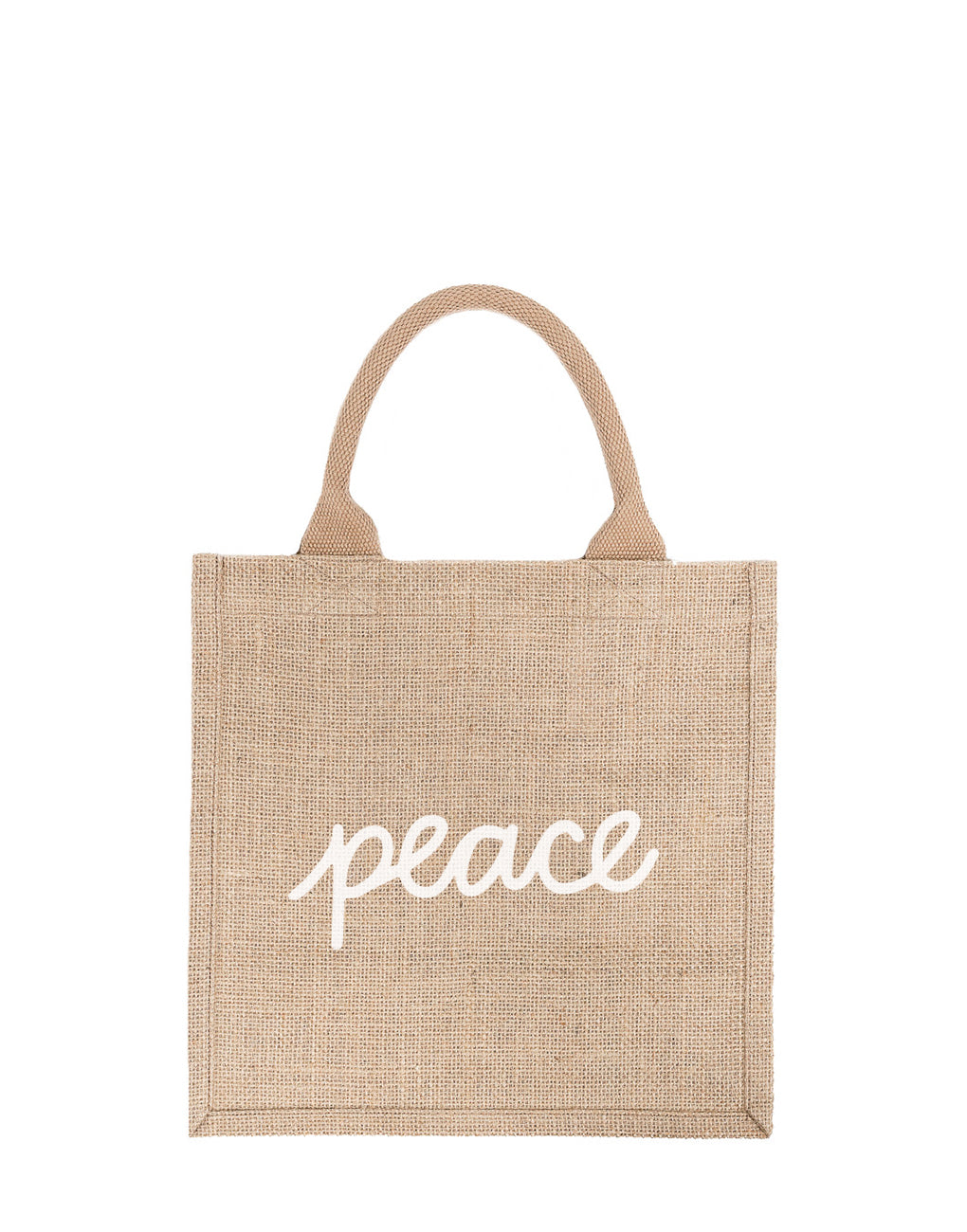 Large Peace Reusable Gift Tote In White Font | The Little Market