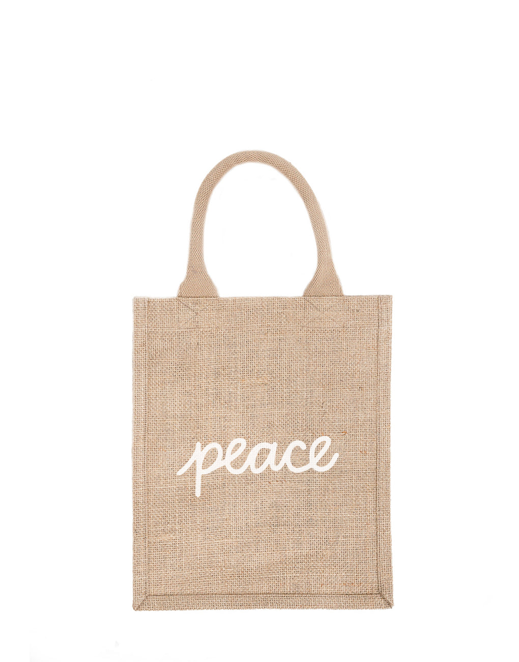 Medium Peace Reusable Gift Tote In White Font | The Little Market