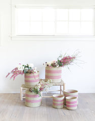 Fair Trade Hand-woven Basket & Planter, Pink Stripe