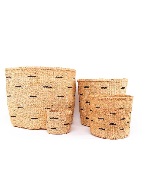 Black Polka Dot Sisal Baskets | The Little Market