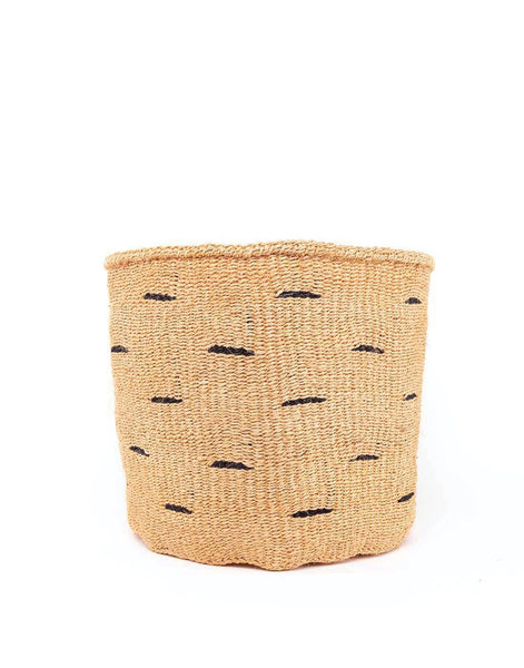 Polka Dot Sisal Basket - Black