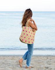Fair Trade, Artisan Made, Polka Dot Tote, Hot Pink