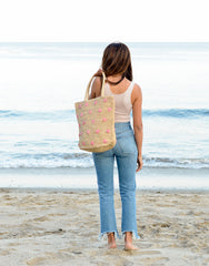 Fair Trade, Artisan Made, Polka Dot Tote, Light Pink