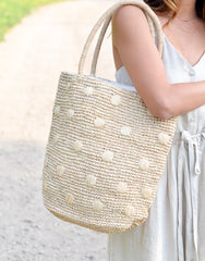 Fair Trade, Artisan Made, Polka Dot Tote, Natural