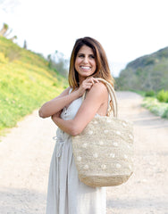 Fair Trade, Artisan Made, Hand Made, Polka Dot Tote, Natural