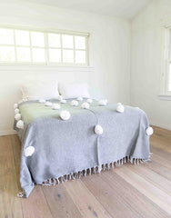 Fair Trade, Hand-woven Pom Pom Blanket, Gray with White Pom Poms
