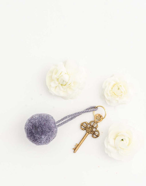Fair Trade, Artisan Made Gray Pom Pom Keychain