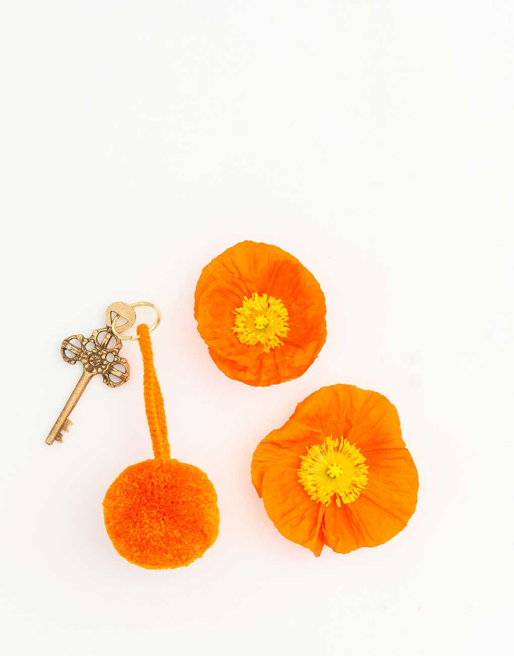 Fair Trade, Artisan Made Orange Pom Pom Keychain