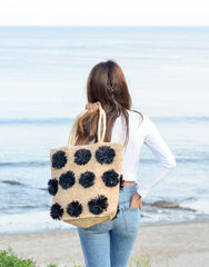 Fair Trade, Artisan Made, Hand Made, Pom Pom Tote, Black