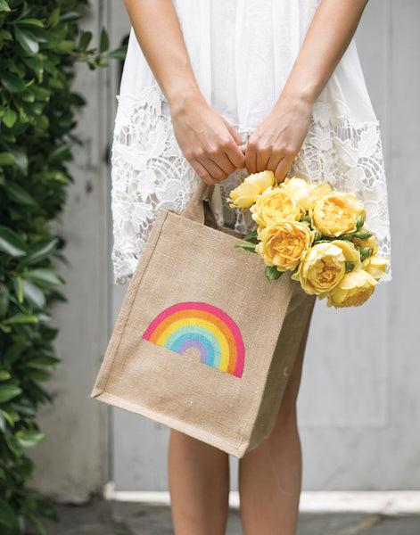 Medium Rainbow Gift Tote Bag | The Little Market