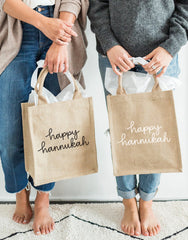 Medium Happy Hannukah Purposefull Gift Totes In Black And White Font | The Little Market