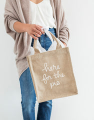 Medium Here For The Pie Reusable Gift Tote In White Font Being Held | The Little Market