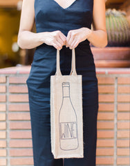 Lauren Conrad Design Wine Reusable Wine Tote In Black Design Being Held | The Little Market
