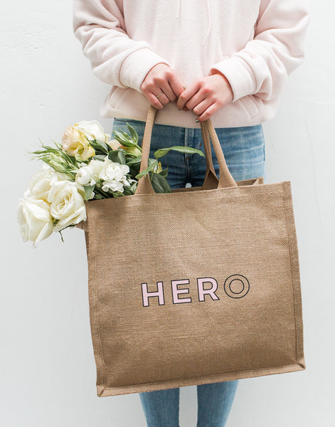 Put the HER in HERO Reusable Tote Bag with Flowers Inside | The Little Market