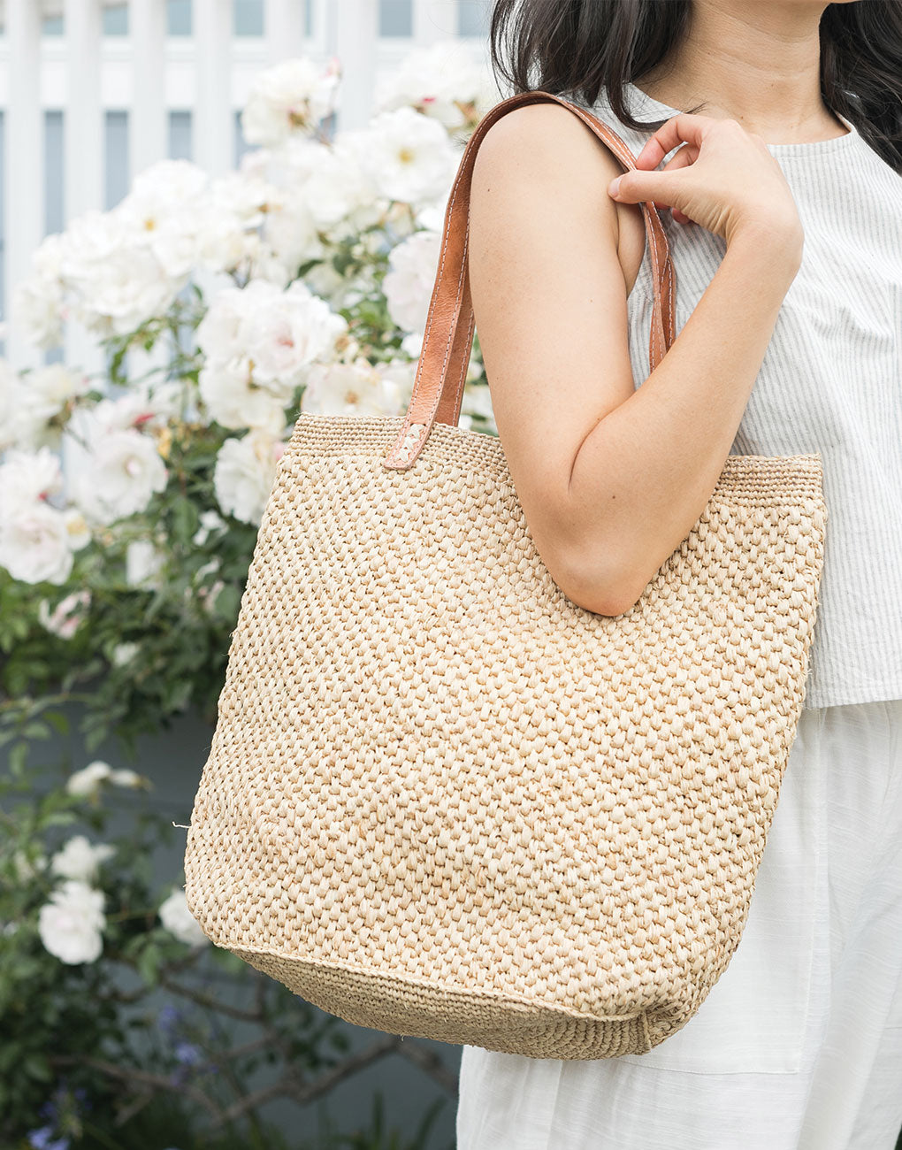 Natural Raffia + Leather Tote | The Little Market