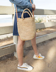 Raffia And Leather Crossbody Tote Bag | The Little Market
