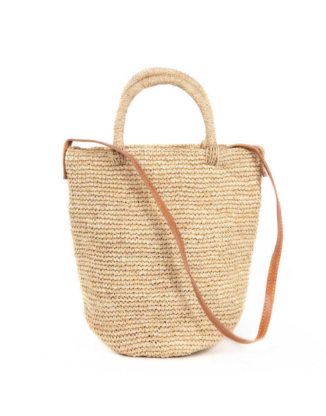 Raffia + Leather Crossbody - Natural