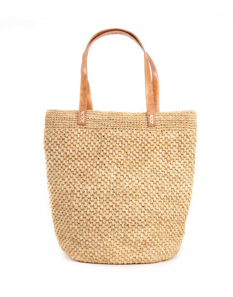 Raffia + Leather Tote - Natural