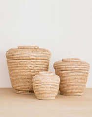 Lidded Natural Rattan Basket | The Little Market