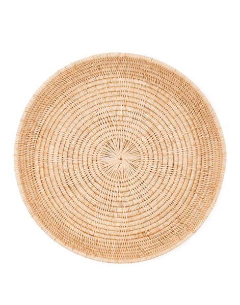 Round Rattan Serving Tray - Natural
