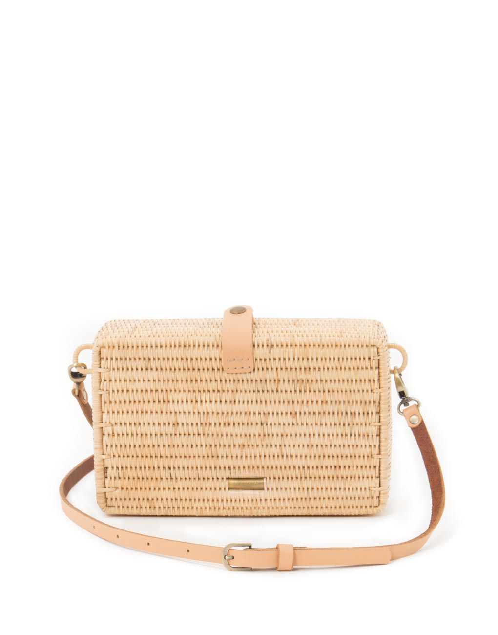 Rectangular Crossbody Natural Rattan Bag - Tan | The Little Market