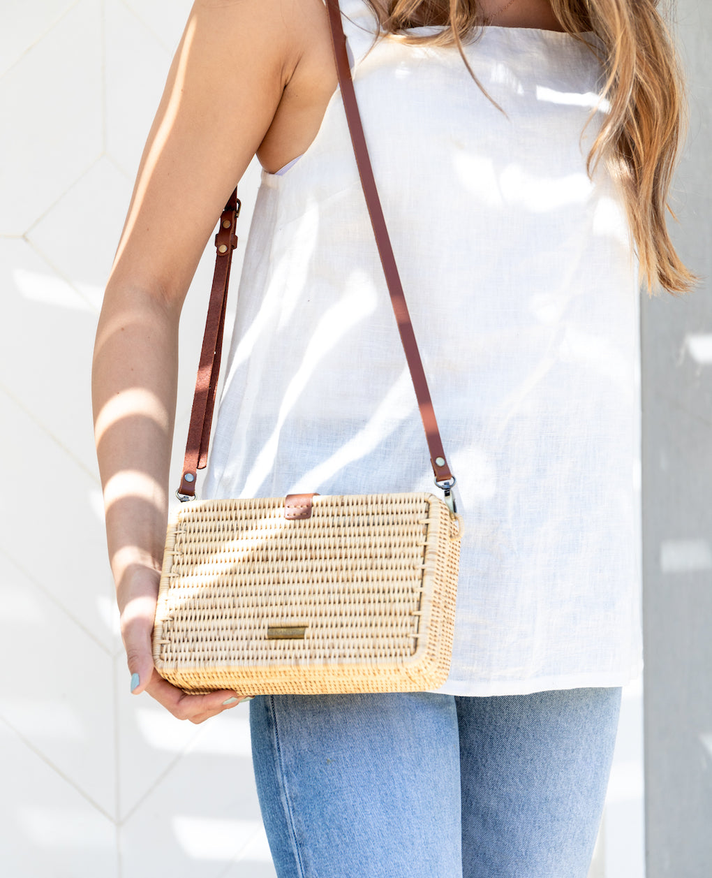 Rectangular Crossbody Natural Rattan Bag - Brown | The Little Market